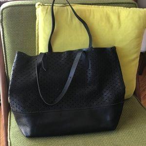 J.crew black leather tote bag